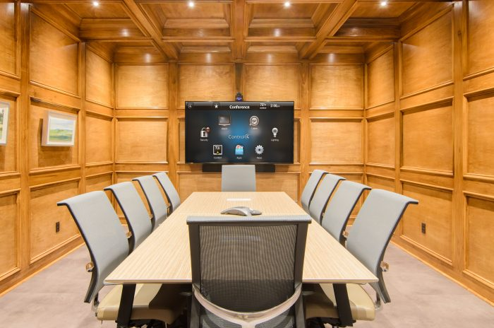 Corporate Boardroom with LCD TV and Soundbar